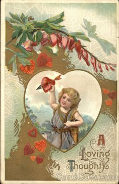 Cupid in a Heart with Flowers and Spiderwebs A Loving Thought