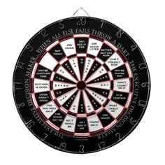 """This is the perfect gift for the executive on your list.  """"The Executive Decision Maker"""" dartboard was created in the old magic 8 ball style, making this a really funny and entertaining accessory to any executive's office.  When all else fails, throw a dart!"""