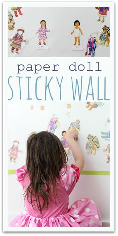 So smart! Use contact paper on the wall to keep paper dolls from falling apart. Great paper doll activity!
