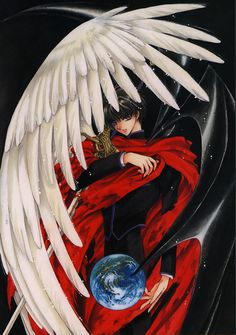 Kamui from X/1999 anime by CLAMP. I love how their drawings are so flowing and they utilize Bat and Angel wings to symbolize good and evil (respectively).