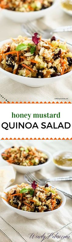 Honey Mustard Quinoa Salad - This easy vegan salad recipe is so delicious that even I didn't over complicate it! I love the crunch of the celery and almonds paired with the sweetness of the cranberries. I don't use bottled dressings so I've included my recipe, but feel free to use whatever Honey Mustard that you like! via @wendypolisi