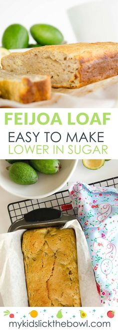 Feijoa and Almond Loaf Uses Lots of Feijoas! Feijoa almond loaf, a feijoa recipe for a moist loaf similar to banana bread, low in sugar and delicious Fejoa Recipes, Slow Cooker Recipes, Recipies, Guava Recipes, Simple Recipes, Sweet Recipes, Baking Recipes, Cookie Recipes, Breakfast Low Carb