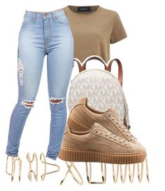 """#schoolfits ✨"" by eazybreezy305 on Polyvore featuring MINKPINK, ALDO, Michael Kors, Puma, schoolflow, schoolstyle and bts"