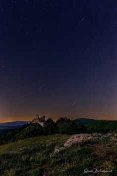 'Perseids over a Cachtice castle' by LubosBalazovic Medieval Castle, Landscape Photos, Northern Lights, My Photos, Sunset, Artist, Travel, Outdoor, Instagram