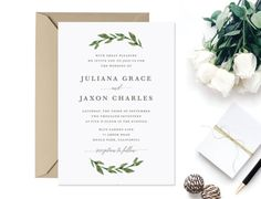 Printable Greenery Wedding Invitation  Watercolor Green