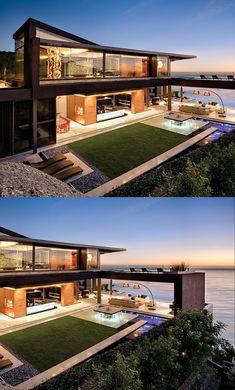 Home Design – (via Nettleton 198 House von SAOTA) - architektur Design Exterior, Modern Exterior, Home Interior Design, Classic Interior, Facade Design, Staircase Design, Rustic Exterior, Modern Staircase, Luxury Interior