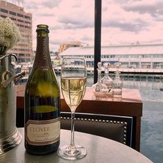 The Glass House hobart, with a bottle of local CloverHillWines bubbles