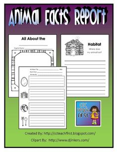 Zoo Animal Research Report Note Taking Page First Grade Unit