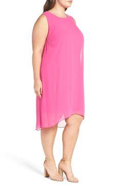 Main Image - Vince Camuto Chiffon Overlay Shift Dress (Plus Size)