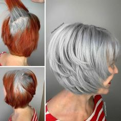 Instead Of Covering Grey Roots, This Hair Colorist Makes Clients Embrace It (30 New Pics) Grey Hair Transformation, Curly Hair Styles, Natural Hair Styles, Gray Hair Highlights, Fashion Bubbles, Transition To Gray Hair, Short Grey Hair, Black Hair, Going Gray