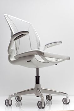 Diffrient World Chair: Weighing just 25 pounds and made of one-third the parts of traditional task chairs. By the way, it's 97% recyclable too.