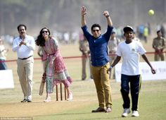 Out! Kate's joy was short-lived as she found herself caught out off the bowling of Sachin ...