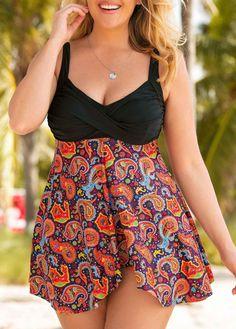 b62b9cc07025a Plus Size Open Back Paisley Print Swimdress and panty Blue Tankini