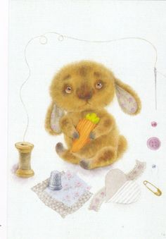 Little rabbit hare with carrot sewing kits by Moiseenko Russian modern postcard