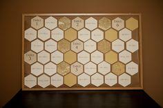 plan de table nid d'abeille... jouer sur les nuances pour différencier les tables