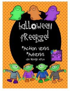 FREEBIE!  This is a great freebie with 4 printable pages for students to explore action verbs and adverbs with ghosts and zombies. It is a really nice assessment tool for identifying who needs more work on understanding action verbs and adverbs after you have taught them in class. Also included are printable bookmarks for students to find action verbs and adverbs while reading independently!