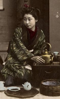 Drinking tea [detail]. Late 19th century, Japan. Hand-colored photo