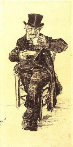 Uomo dell'ospizio con cappello a cilindro, che beve caffè   1882