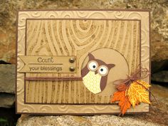 handmade greeting card ... kraft ... wood grain texture with incking ... little two step punched owl peeping out of lage circle ... bright Fall leaves gathered with an organza bow ... Stampin' Up!