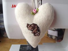 Hanging Fabric Heart hand embroidered with a German Short Haired Pointer on Etsy, £8.50