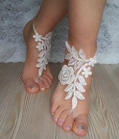 bridal ankletcream-colored metallic by BarefootShop on Etsy