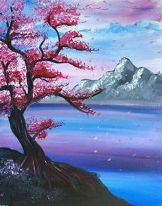 Join us for a Paint Nite event Mon Nov 2016 at 1393 Boardman Canfield Rd Boa. - Join us for a Paint Nite event Mon Nov 2016 at 1393 Boardman Canfield Rd Boardman, OH. Simple Canvas Paintings, Easy Canvas Painting, Diy Canvas Art, Beautiful Paintings, Easy Landscape Paintings, Easy Paintings, Cherry Blossom Painting, Tempera, Pastel Art