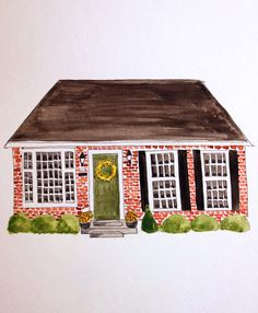 Custom Watercolor House Portraits by BlueHousePaperie on Etsy, $42.00 need to get one of our first home together!