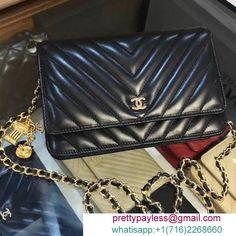 e557932ac576 Best Reps Lux Handbags online Chanel Chevron Lambskin WOC Bag with Owl  Chain Black 2018 -
