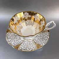 Queen Anne Heavy Gold Lace Bone China Teacup & Saucer England Vintage Tea Cup