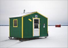Ice fishing shacks in Quebec