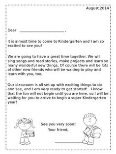 Welcome back letters with a twist school starts school and this kindergarten greeting packet is a nice way of welcoming new students and parents to your classroom included is a before school letter spiritdancerdesigns Image collections