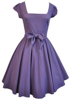 LADY VINTAGE Elegant Purple 50s Swing Dress - Sizes 8-22: Amazon.co.uk: Clothing