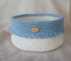"""Utensilo Häkelkörbchen handmade """"Baby"""" blau von PHOTOGLÜCK auf DaWanda.com"""