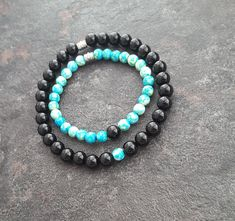 Distance relationship bracelets, Matching bracelets, Onyx bracelet, turquoise ocean jade bracelet, Gift for couples, distance relationship by WiseRocks on Etsy Wish Bracelets, Crystal Bracelets, Bracelets For Men, Lava Bracelet, Stone Bracelet, Long Distance Relationship Bracelets, Rock Necklace, Couple Gifts, Family Gifts