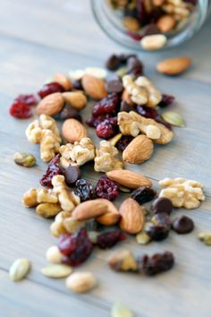 Mix up your own trail mix with nuts, cherries, pumpkin seeds, and a handful of chocolate chips.