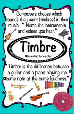 Timbre and other free posters Music Anchor Charts, Music Charts, Music Terms, Music Classroom, Classroom Ideas, Classroom Projects, Future Classroom, Music Bulletin Boards, Middle School Music