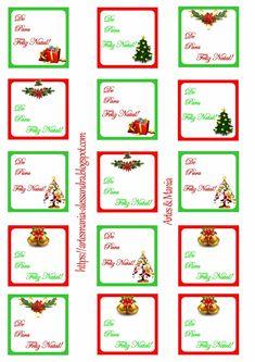 Etiqueta de Natal para colocar nos presentes! Essa arte está em tamanho A4. Uma dica, na hora de comprar papel para etiquetas peça em ta...