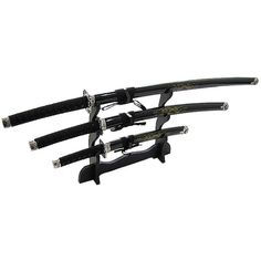 Defender Japanese Samurai 3-piece Black Sword Set ($41) ❤ liked on Polyvore featuring home, home decor, black and black home decor