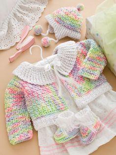 Cuddle Bug Baby Set Crochet Pattern Download from e-PatternsCentral.com.