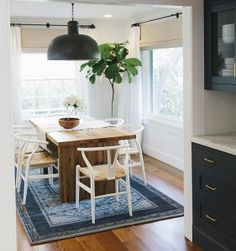 Navy Butlers pantry leading to dining room with navy decor. Decor, Interior, Home, Living Dining Room, Two Tone Kitchen, Vintage Rugs, Kitchen Reno, Luxury Interior Design, Interior Design