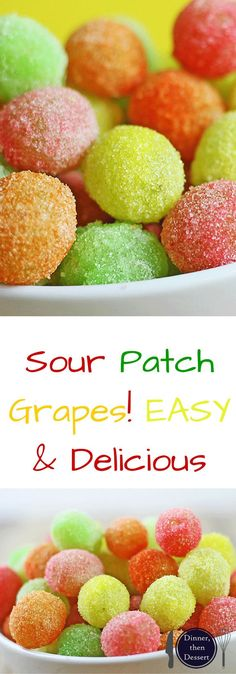 Diet Snacks Sour Patch Grapes are my new go to for my sour candy fix! With only two ingredients, these candied grapes come together in seconds and taste like you threw deliciously tart green grapes into the machines at the Sour Patch Candy factory! Sour Patches, Köstliche Desserts, Delicious Desserts, Yummy Food, Finger Food Desserts, Sour Patch Grapes, Sour Grapes, Sugared Grapes, Sour Candy