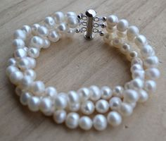 pearl bracelet3 rows 8 inches White pearl by weddingpearl on Etsy, $11.00