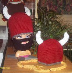 Crochet viking hat.