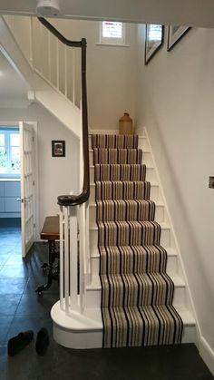 Four Oaks White Primed Staircase. This is a lovely example of a white primed staircase enhanced by using an oak handrai. Stair Handrail, Staircase Railings, Staircase Design, Staircases, Stair Banister Kits, White Staircase, Oak Stairs, Modern Stairs, French Oak