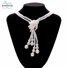 Women Multilayer Long Pearl Necklace. Long Pearl NecklacesPearl Pendant  NecklaceBlingSweaterChain ... 7d5a04660b99