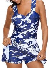 Wide Strap Ruched Blue One Piece Swimdress | Rosewe.com - USD $31.29