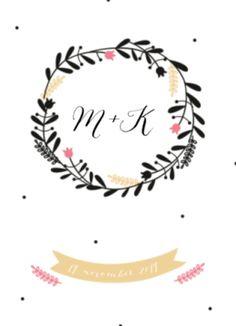 Klassieke trouwkaart zwarte krans met daarin de initialen van jullie namen.