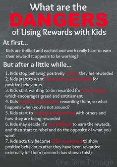 Did you know that there is a really NEGATIVE side to using REWARDS with your kids or students? Find out why rewards really DON'T work - even when it appears they do. Part of the Positive Parenting series at One Time Through.