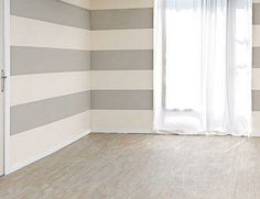 Livingroom Inspiration: Horizontal Painted grey Stripe Walls