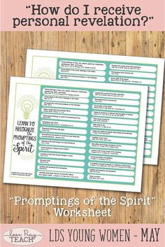 "LDS Young Women May: ""How can I receive personal revelation?"" Come, Follow Me lesson packet including printables, activity ideas, object lesson, handouts, worksheets, booklet, board activities, Promptings of the Spirit worksheet, and more! #LovePrayTeach #LDSYW #LDSYoungWomen #YWMay #Revelation"